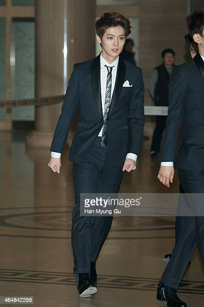 Lu Han of boy band EXOM attends the 28th Golden Disk Awards at Kyunghee University on January 16 2014 in Seoul South Korea
