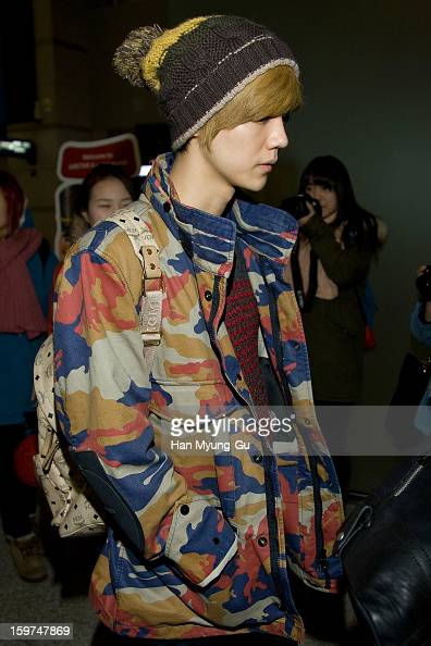 Lu Han of boy band EXOM is seen at Incheon International Airport on January 19 2013 in Incheon South Korea