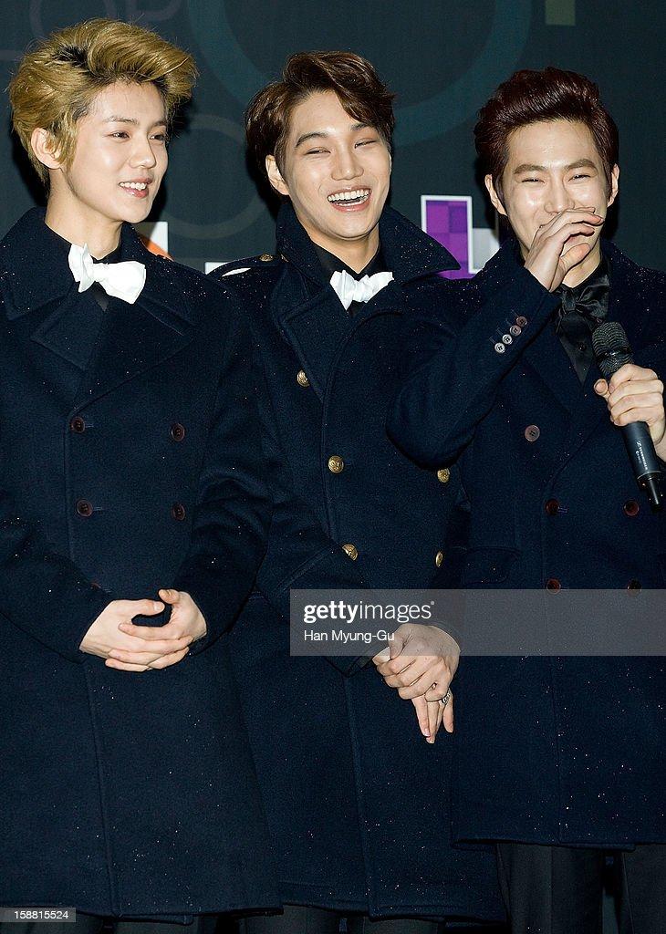 Lu Han of boy band EXO-M, Kai and Su Ho of boy band EXO-K arrive at the 2012 SBS Korea Pop Music Festival named 'The Color Of K-Pop' at Korea University on December 29, 2012 in Seoul, South Korea.