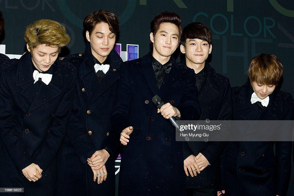 Lu Han of boy band EXO-M, Kai, Su Ho of boy band EXO-K, Chen and Xiumin of boy band EXO-M arrive at the 2012 SBS Korea Pop Music Festival named 'The Color Of K-Pop' at Korea University on December 29, 2012 in Seoul, South Korea.
