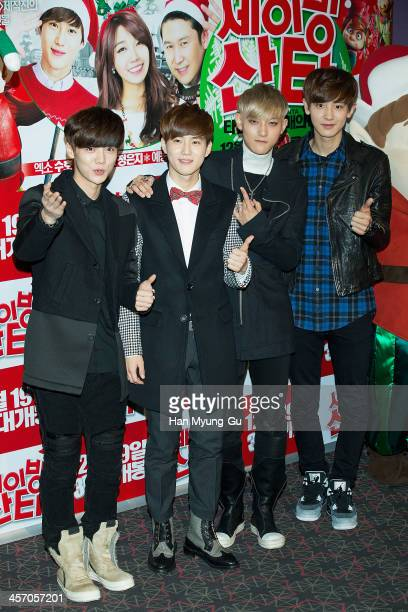 Lu Han Su Ho Tao and Chan Yeol of boy band EXO attend 'Saving Santa' VIP screening at CGV on December 11 2013 in Seoul South Korea The film will open...