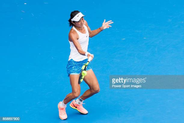 Lu JiaJing of China hits a return during her women's singles qualifying match of the Prudential Hong Kong Tennis Open 2017 between Miyu Kato of Japan...