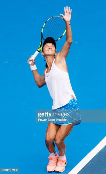 Lu JiaJing of China serves during her women's singles qualifying match of the Prudential Hong Kong Tennis Open 2017 between Miyu Kato of Japan and Lu...