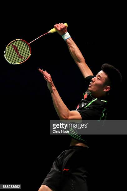 Lu Kai of China competes in the mixed doubles Quarter Final match partnered Huang Yaqiong against Satwiksairaj Rankireddy and Ashwini Ponnappa of...
