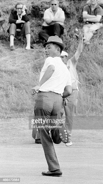 Lu LiangHuan of Taiwan in action during the British Open Golf Championship at the Royal Birkdale Golf Club in Southport on 9th July 1971