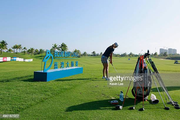 Lu Wanyao of China practise at the driving range on Day 5 of Blue Bay LPGA 2015 at Jian Lake Blue Bay golf course on October 30 2015 in Hainan Island...