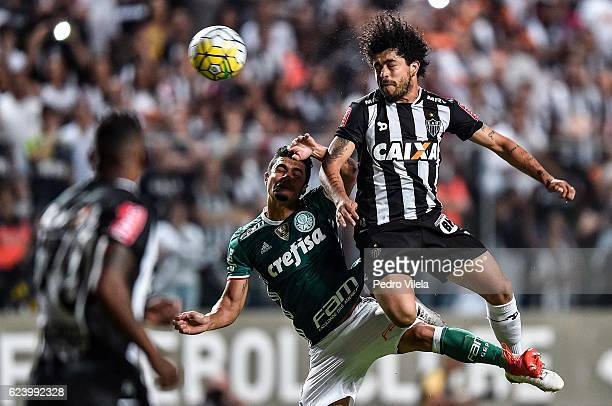 Luan of Atletico MG and Egidio of Palmeiras battle for the ball during a match between Atletico MG and Palmeiras as part of Brasileirao Series A 2016...