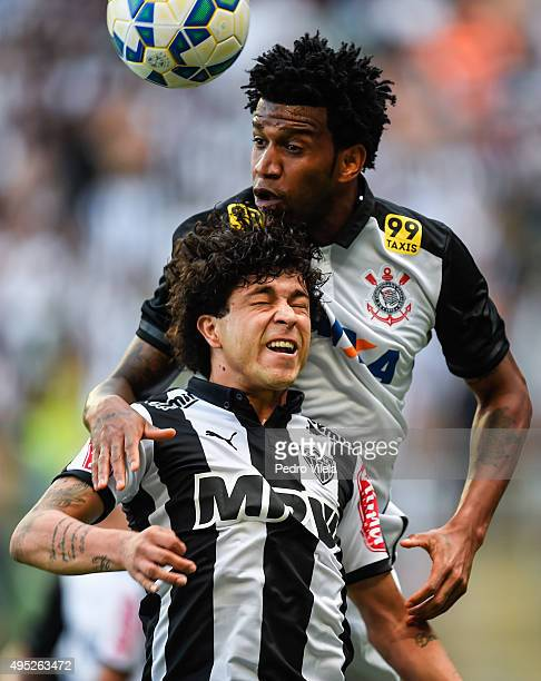 Luan of Atletico MG and Gil of Corinthians battle for the ball during a match between Atletico MG and Corinthians as part of Brasileirao Series A...