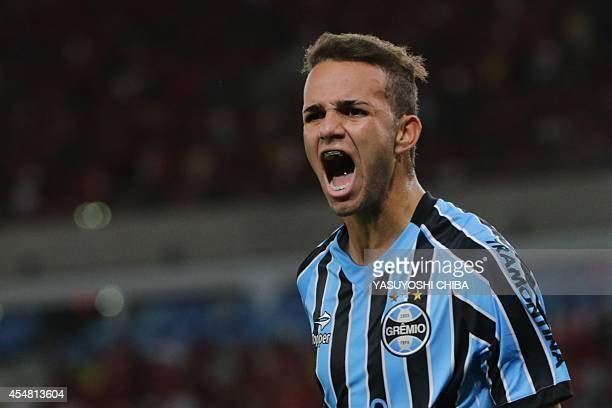Luan of Gremio celebrates after his goal against Flamengo during their Brazilian championship match at Maracana stadium in Rio de Janeiro Brazil on...