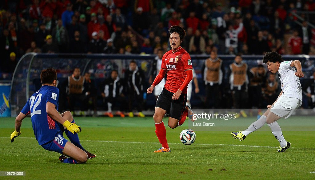 Luan of Mineiro scores his teams winning goal during the FIFA Club World Cup 3rd Place Match between Guangzhou Evergrande FC and Atletico Mineiro at...