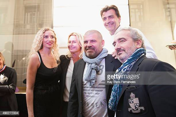 Luana Belmondo Philippe Etchebest Yannick Alleno and Didier Coly executive chef at the Hotel Costesspeak to Cheese makers during the 'Fromage Fashion...