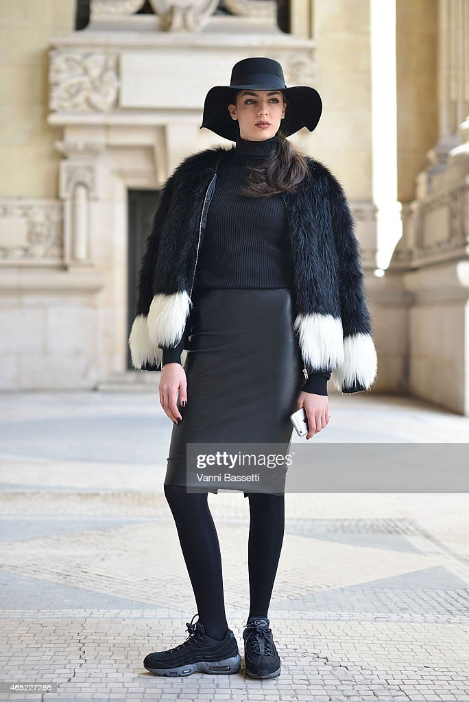 Luana Sarno poses wearing an H and M top, Zara skirt and Nike shoes on Day 2 of Paris Fashion Week Womenswear FW 15 on March 4, 2015 in Paris, France.