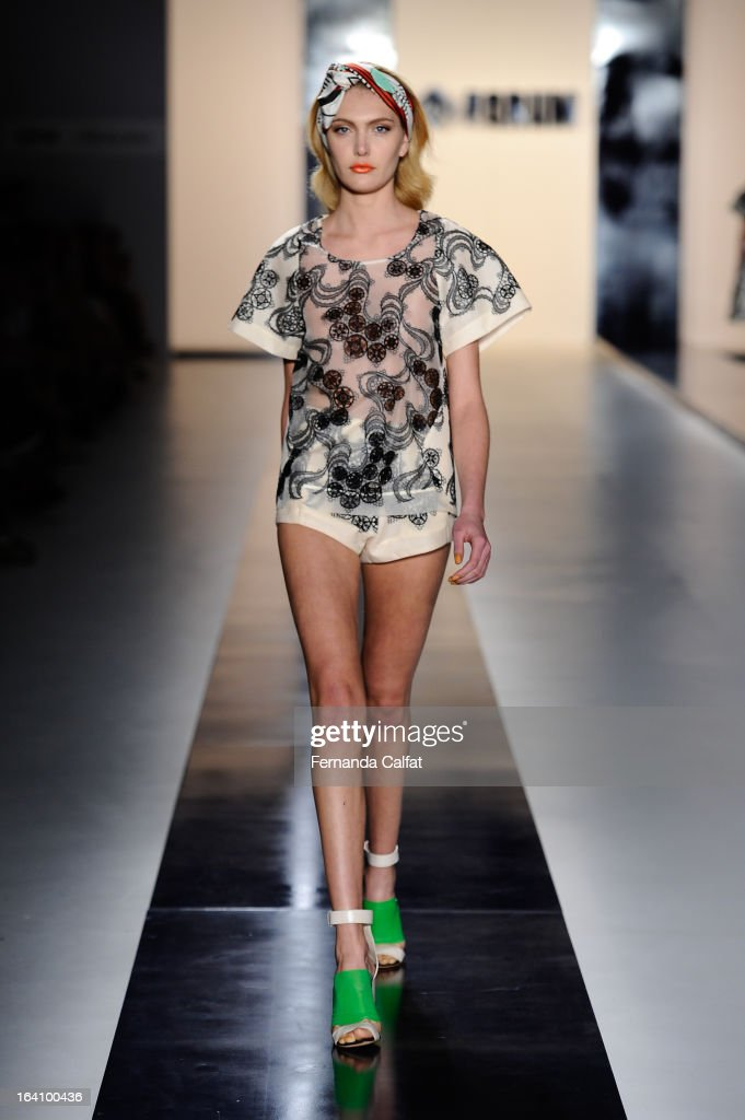 Luana Teifke walks the runway during the Forum show during Sao Paulo Fashion Week Summer 2013/2014 on March 19, 2013 in Sao Paulo, Brazil.