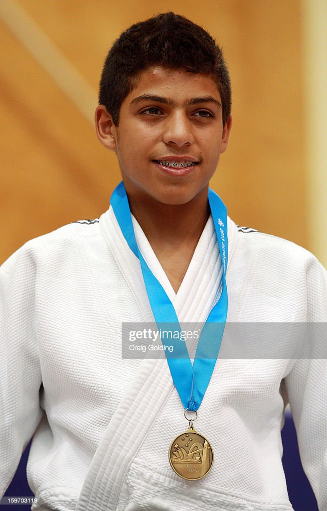Luanh Rodrigues of Brazil wins the gold medal in the cadet mens -66kg division of the Judo event in the Sports Halls during day four of the Australian Youth Olympic Festival at Sydney Olympic Park Sports Centre on January 19, 2013 in Sydney, Australia.