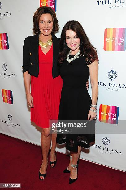 LuAnn de Lesseps and Lisa Vanderpump attend EVINE Live launches new digital retail brand during live broadcast from The Plaza on February 14 2015 in...