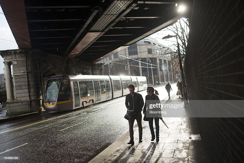 A Luas tram, operated by Veolia Transdev, travels through the city center of Dublin, Ireland, on Saturday, March 16, 2013. Ireland's renewed competiveness makes it a beacon for the U.S. companies such as EBay, Google Inc. and Facebook Inc., which have expanded their operations in the country over the past two years. Photographer: Simon Dawson/Bloomberg via Getty Images