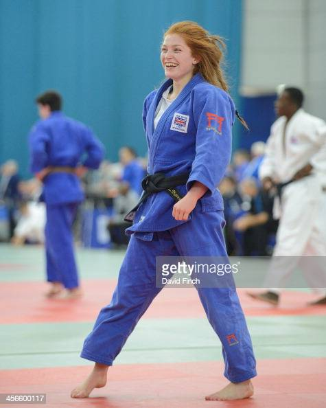 Lubjana Piovesana of Bishop Challoner JC joyfully walks across the mat after throwing Prisca Awiti of Enfield JC for ippon in extra time on her way...