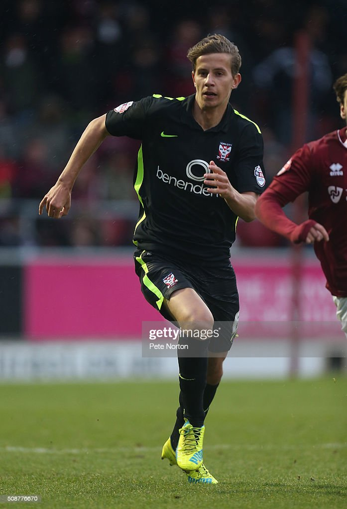 Lubo Satka of York City in action during the Sky Bet League Two match between Northampton Town and York City at Sixfields Stadium on February 6, 2016 in Northampton, England.