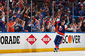 Lubomir Visnovsky of the New York Islanders celebrates their win against the Washington Capitals during Game Three of the Eastern Conference...