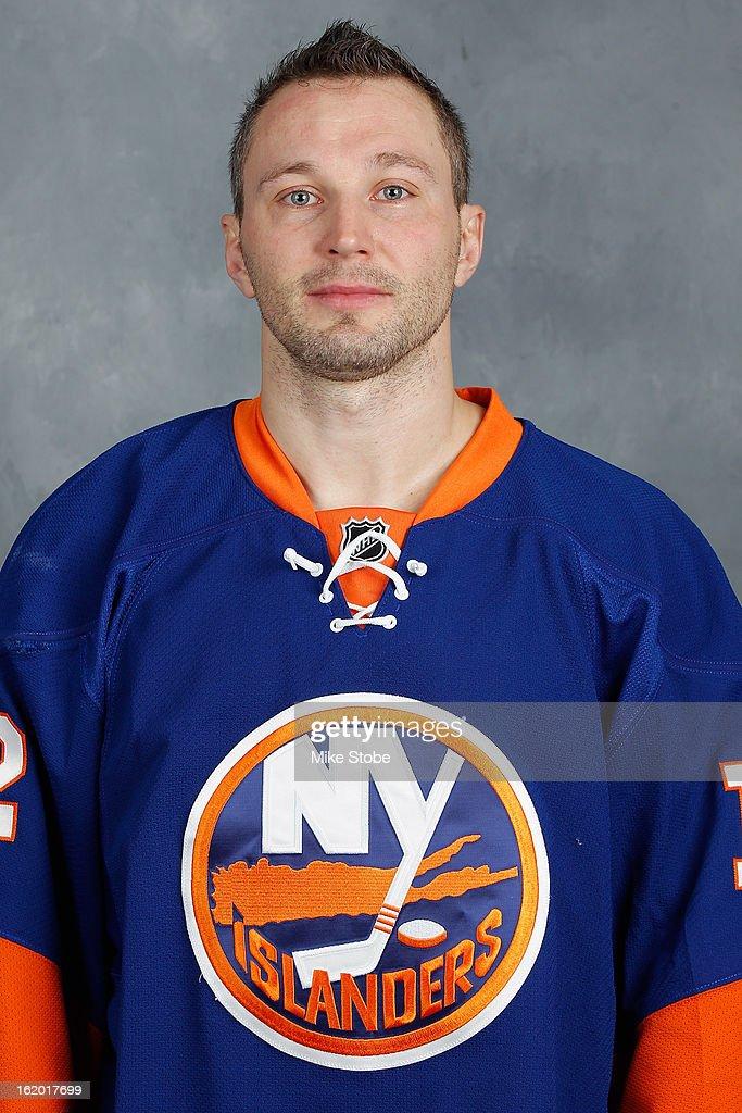 Lubomir Visnovsky #11 of the New York Islanders poses for his official headshot for the 2012-2013 season at Nassau Veterans Memorial Coliseum on February 18, 2013 in Uniondale, New York.