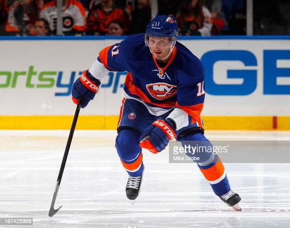 Lubomir Visnovsky of the New York Islanders skates against the Philadelphia Flyers at Nassau Veterans Memorial Coliseum on April 9 2013 in Uniondale...