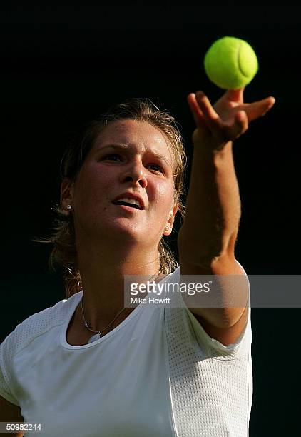 Lubomira Kurhajcova of Slovakia in action during her first round match against Anastasia Myskina of Russia at the Wimbledon Lawn Tennis Championship...