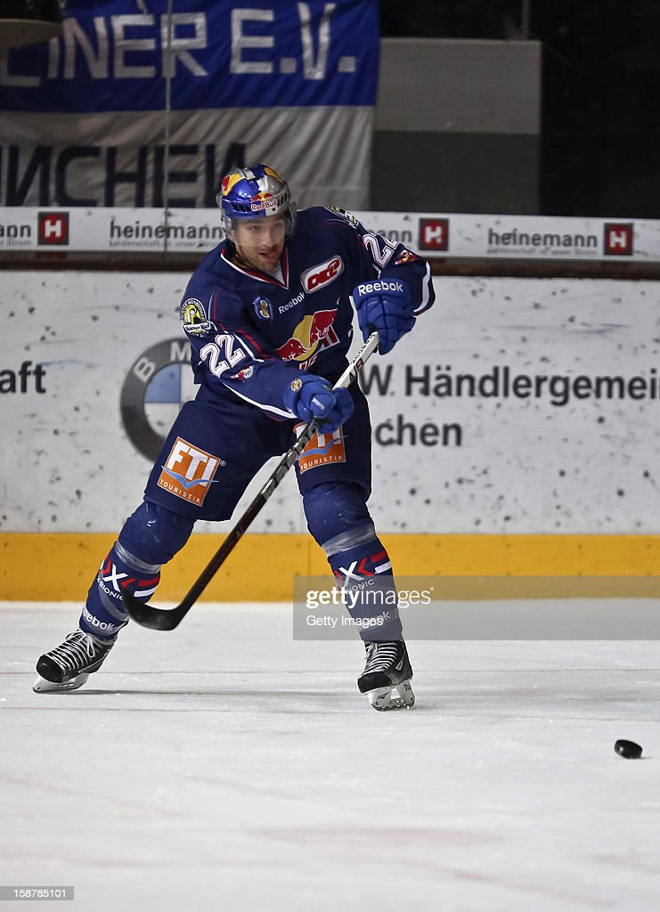 Lubor Dibelka of EHC Red Bull Munich in action during the DEL ice hockey game between EHC Red Bull Munich and Hamburg Freezer at Olympia Eishalle on December 28, 2012 in Munich, Germany.