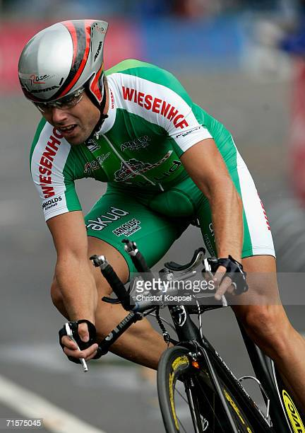 Lubor Tesa of Czech Republic of Wiesnhof Team in action during the Prologue of the Deutschland Tour on August 1 2006 in Dusseldorf Germany