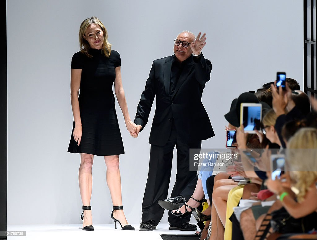 Lubov Azria and Max Azria walk the runway at the Herve Leger By Max Azria fashion show during MercedesBenz Fashion Week Spring 2015 at The Theatre at...