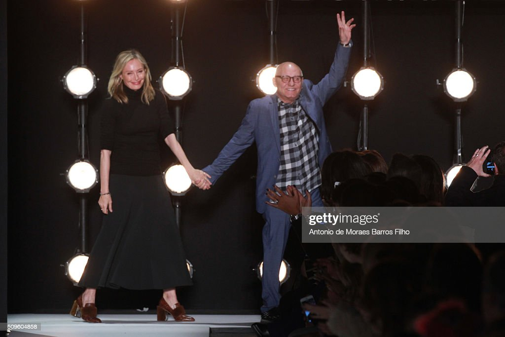 <a gi-track='captionPersonalityLinkClicked' href=/galleries/search?phrase=Lubov+Azria&family=editorial&specificpeople=2281952 ng-click='$event.stopPropagation()'>Lubov Azria</a> and Max Azria walk the runway during the BCBGMAXAZRIA show as a part of Fall 2016 New York Fashion Week at The Arc, Skylight at Moynihan Station on February 11, 2016 in New York City.