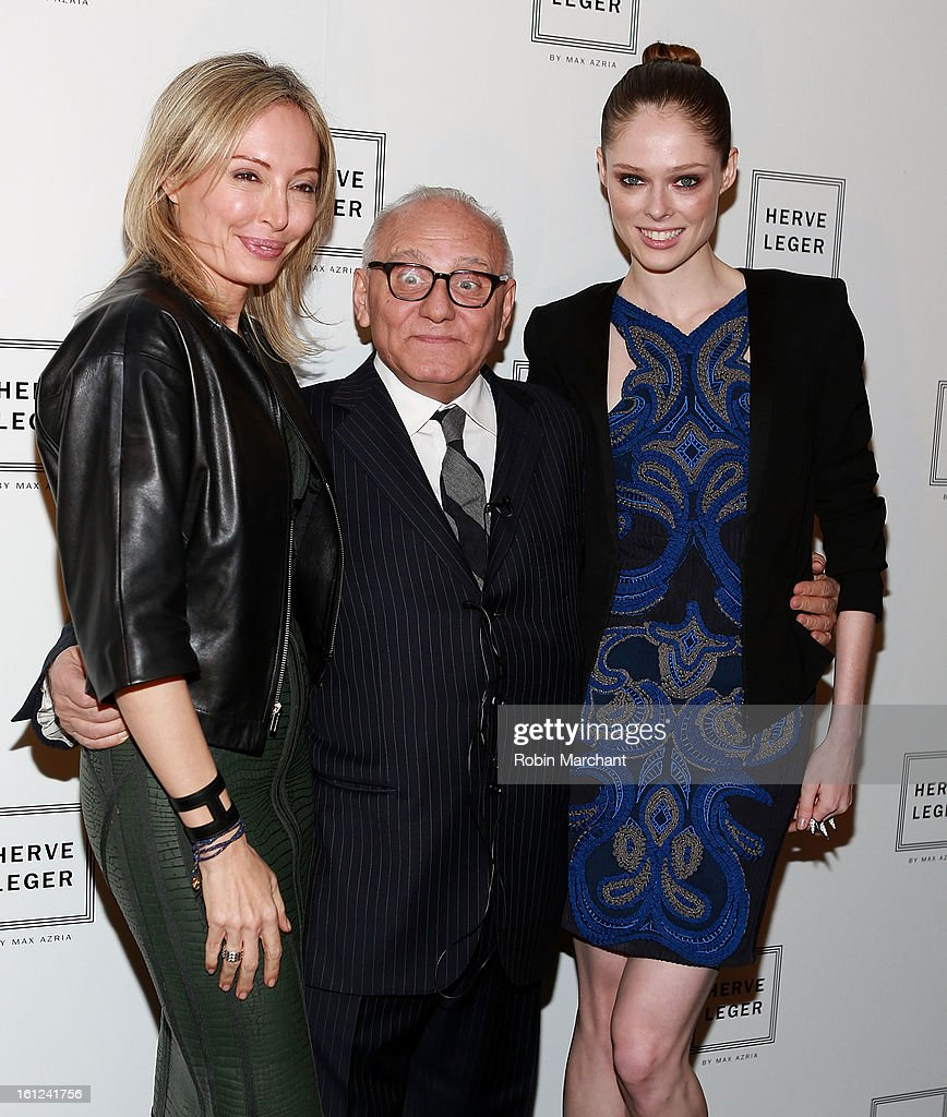 <a gi-track='captionPersonalityLinkClicked' href=/galleries/search?phrase=Lubov+Azria&family=editorial&specificpeople=2281952 ng-click='$event.stopPropagation()'>Lubov Azria</a>, Max Azria and <a gi-track='captionPersonalityLinkClicked' href=/galleries/search?phrase=Coco+Rocha&family=editorial&specificpeople=4172514 ng-click='$event.stopPropagation()'>Coco Rocha</a> attend Herve Leger By Max Azria during Fall 2013 Mercedes-Benz Fashion Week at The Theatre at Lincoln Center on February 9, 2013 in New York City.