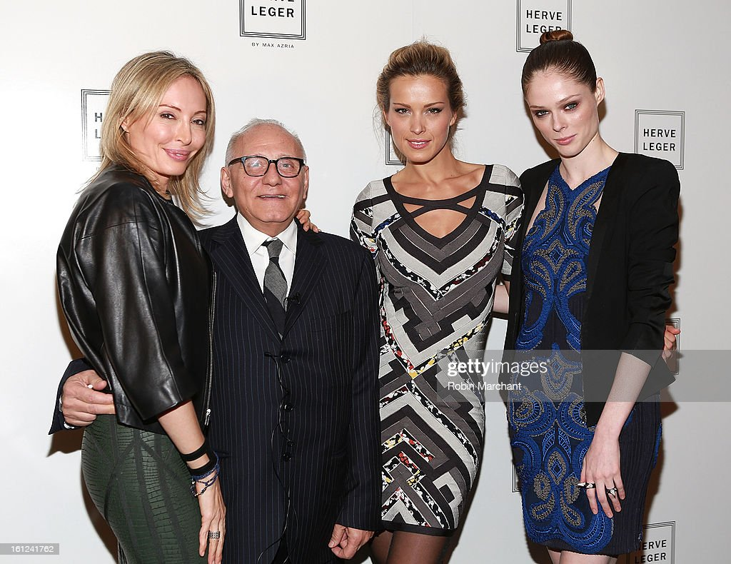 <a gi-track='captionPersonalityLinkClicked' href=/galleries/search?phrase=Lubov+Azria&family=editorial&specificpeople=2281952 ng-click='$event.stopPropagation()'>Lubov Azria</a>, Max Azria, <a gi-track='captionPersonalityLinkClicked' href=/galleries/search?phrase=Petra+Nemcova&family=editorial&specificpeople=201716 ng-click='$event.stopPropagation()'>Petra Nemcova</a>, and <a gi-track='captionPersonalityLinkClicked' href=/galleries/search?phrase=Coco+Rocha&family=editorial&specificpeople=4172514 ng-click='$event.stopPropagation()'>Coco Rocha</a> attend Herve Leger By Max Azria during Fall 2013 Mercedes-Benz Fashion Week at The Theatre at Lincoln Center on February 9, 2013 in New York City.