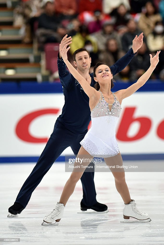 Lubov Iliushechkina and <a gi-track='captionPersonalityLinkClicked' href=/galleries/search?phrase=Dylan+Moscovitch&family=editorial&specificpeople=7301055 ng-click='$event.stopPropagation()'>Dylan Moscovitch</a> of Canada compete in the pairs free skating during the day two of the NHK Trophy ISU Grand Prix of Figure Skating 2015 at the Big Hat on November 28, 2015 in Nagano, Japan.