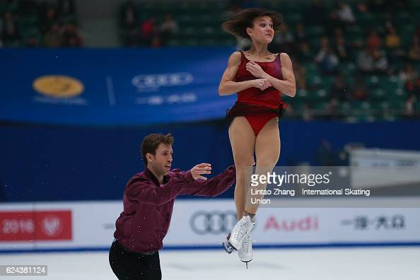 Lubov Iliushechkina and Dylan Moscovitch of Canada perform during compete in the Pairs Free Skating on day two of Audi Cup of China ISU Grand Prix of...