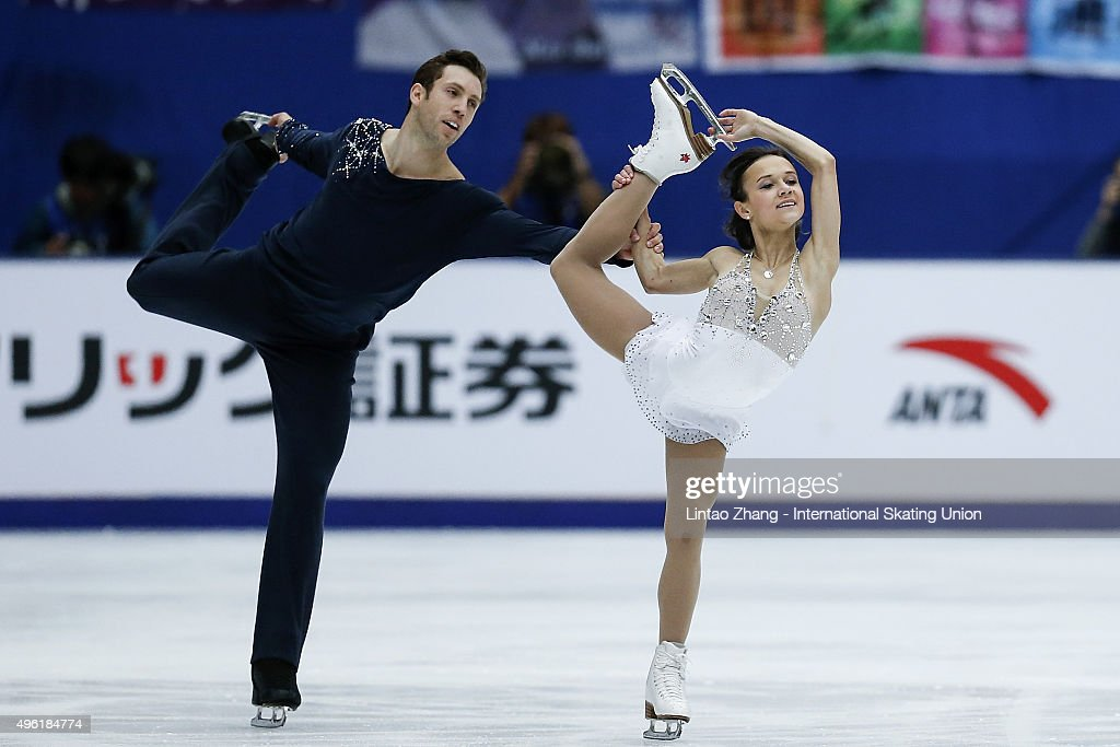 Lubov Iliushechkina and <a gi-track='captionPersonalityLinkClicked' href=/galleries/search?phrase=Dylan+Moscovitch&family=editorial&specificpeople=7301055 ng-click='$event.stopPropagation()'>Dylan Moscovitch</a> of Canada perform during the Pairs Short Program on day two of Audi Cup of China ISU Grand Prix of Figure Skating 2015 at Beijing Capital Gymnasium on November 7, 2015 in Beijing, China.