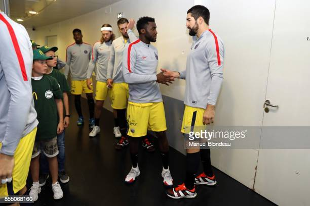 Luc Abalo and Nikola Karabatic of Paris SG during the Lidl Starligue match between Toulouse and Paris Saint Germain on September 27 2017 in Toulouse...