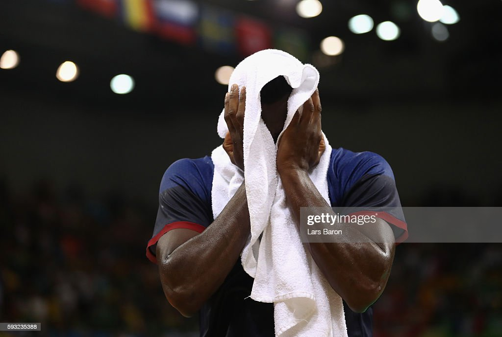 Luc Abalo of France reacts after being defeated by Denmark in the Men's Gold Medal Match on Day 16 of the Rio 2016 Olympic Games at Future Arena on...