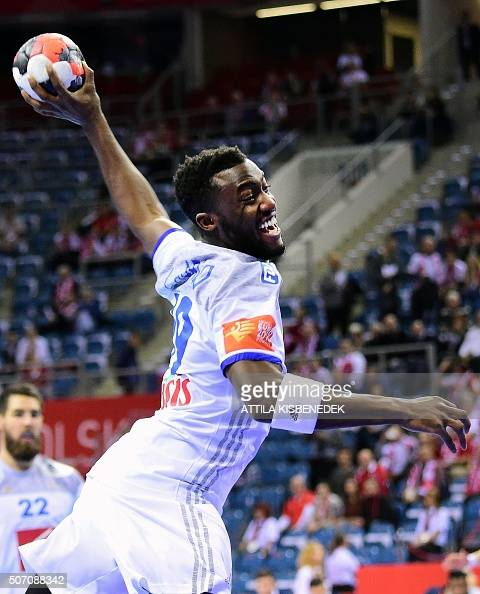 Luc Abalo of France scores a goal against Norway during the Men's 2016 EHF European Handball Championship match between France and Norway in Krakow...
