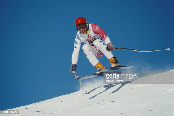 Luc Alphand of France goes airborne during the International Ski Federation Men's downhill at the Alpine Skiing World Cup event on 9 January 1984 in...