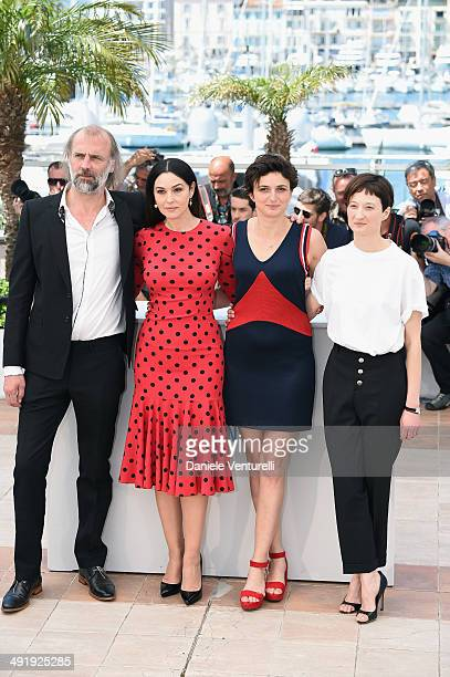 Luc Besson Actress Monica Bellucci director Alice Rohrwacher and Alba Rohrwacher attends 'The Wonders' photocall at the 67th Annual Cannes Film...
