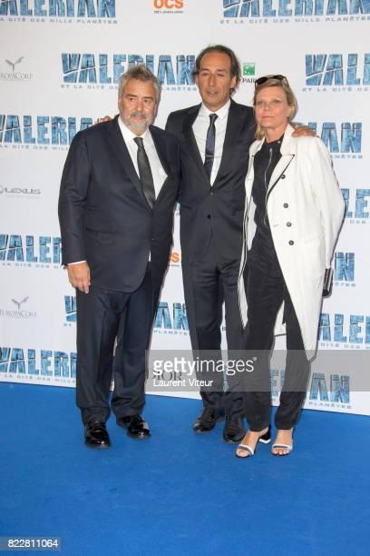 Luc Besson Alexandre Desplat and Dominique Lemonnier attend 'Valerian et la Cite desMille Planetes' Paris Premiere at La Cite Du Cinema on July 25...