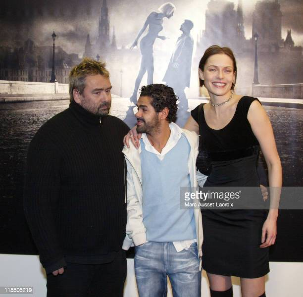 Luc Besson Jamel Debbouze Rie Rasmussen during 'AngelA' Paris Premiere Arrivals at GaumontMarignan in Paris France