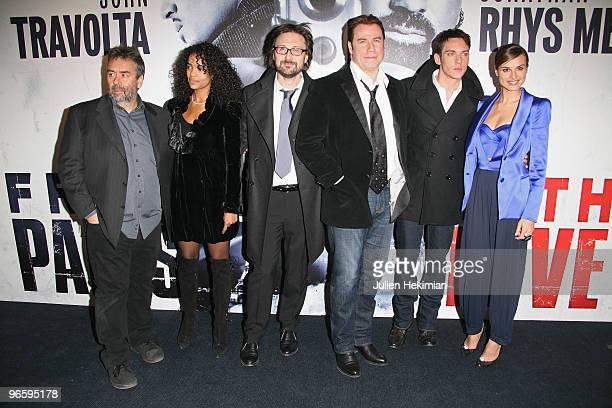 Luc Besson Virginie Silla Pierre Morel John Travolta Jonathan RhysMeyers and Kasia Smutniak attend 'From Paris with Love' Paris premiere at Cinema...
