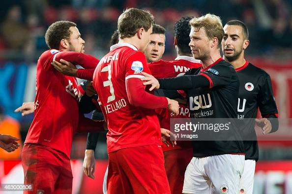 Luc Castaignos of FC Twente Andreas Bjelland of FC Twente Renato Tapia of FC Twente Rick Kruijs of Excelsior Adil Auassar of Excelsior during the...