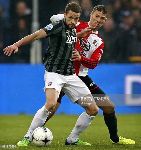 Luc Castaignos of FC Twente Khalid Boulahrouz of Feyenoord during the Dutch Eredivisie match between Feyenoord and FC Twente at the Kuip on January...