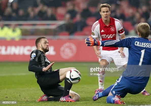 Luc Castaignos of FC Twente Niklas Moisander of Ajax Jasper Cillessen of Ajax during the Dutch Eredivisie match between Ajax Amsterdam and FC Twente...