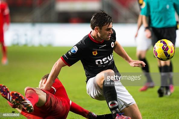 Luc Castaignos of FC Twente Sander Fischer of Excelsior during the Dutch Eredivisie match between FC Twente and Excelsior Rotterdam at the Grolsch...