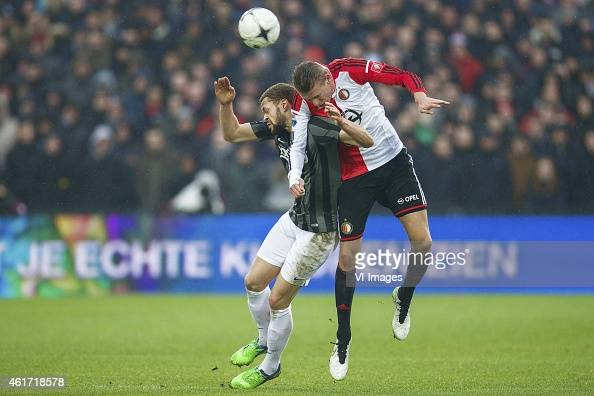 Luc Castaignos of FC Twente Sven van Beek of Feyenoord during the Dutch Eredivisie match between Feyenoord and FC Twente at the Kuip on January 18...