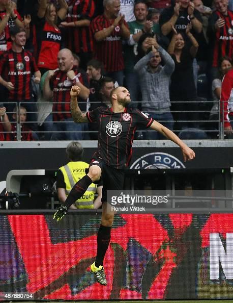 Luc Castaignos of Frankfurt celebrates after scoring his team's third goal during the Bundesliga match between Eintracht Frankfurt and 1 FC Koeln at...