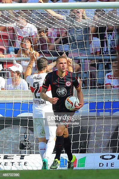 Luc Castaignos of Frankfurt reacts after scoring their second goal during the Bundesliga match between VfB Stuttgart and Eintracht Frankfurt at...
